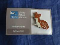 RSPB GNaH fallow deer metal pin badge on FR card