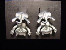 """""""JJ"""" Jonette Jewelry Silver Pewter 'CAT Bottom 3-D' Pierced Earrings"""