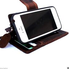 genuine vintage leather case fit iphone SE 5c 5s cover book wallet credit cards