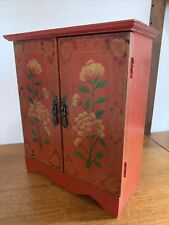 More details for vintage oriental red hand-painted jewel box wardrobe cupboard small - storage