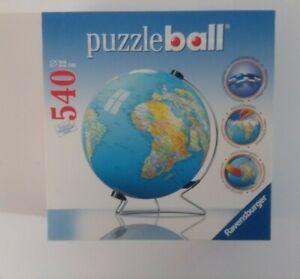 New Ravensburger 3D Jigsaw Puzzle Ball Earth World Globe 540 Pcs w/ Stand 2007