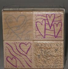 Hero Arts Rubber Stamp Boxed Set of 4 Hearts Wood Mount 1