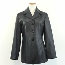 Worthington Womens Sz S Fitted Black Leather Jacket Button Front Coat Sz SMALL