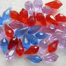 20 Teardrop Faceted Glass Beads Crystal Pendant 22 x 10mm Craft Jewllery Making