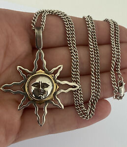 18ct Gold & Silver Man On The Sun Large Heavy Vintage Pendant On Chain.