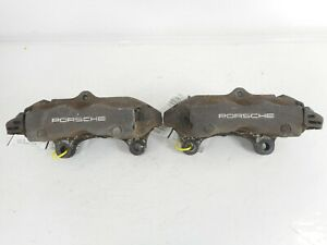 "06 08-10 Porsche Cayenne 955 Rear Left Right Brake Caliper Pair OEM 12.99"" Black"