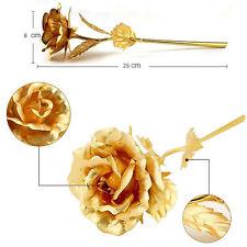 24cm Gold Foil Rose Flower Valentine's Day Handcraft Dipped Long Stem Deacor New