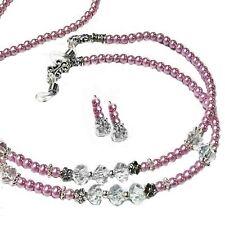 Reading glasses beaded holder lanyard (optional earrings) - pink pearls