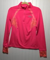FILA SPORT Women's Small 1/4 Zip Hot Pink Print Activewear Running Top L/Sleeve