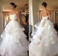 Ruffle Organza Wedding Dresses Bridal Gowns Strapless A-line Empire Custom Size