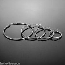 1Set/4pairs Stainless Steel Hoop Earrings Dull Silver Tone Hoop Earings