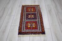 Turkish Anatolian Wool Rug Antique  Oushak Cappadocia Doormat Carpet 1.6x3.2ft
