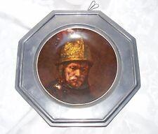 ANTIQUE WARRIOR PORTRAIT DECOR, Bavaria Decorative Plate Octagon Pewter Frame