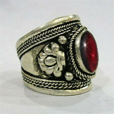 Adjustable Tibetan Big Round Garnet Gemstone Dorje Weaving Amulet Ring