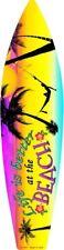 "Life Better At Beach Metal Surfboard Sign 17"" x 4.5"" ↔ Tropical Home Wall Decor"