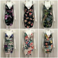V Neck Party Stretch, Bodycon Floral Dresses for Women