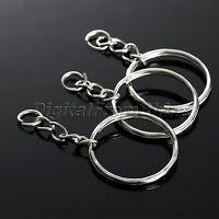 "100Pc Silver Keychain Key Ring with Chain Key Fob Split Blanks Craft Dia 25mm 1"""