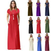 Short Sleeve Sundress Party Loose Long Solid Maxi Womens Dress Shirt
