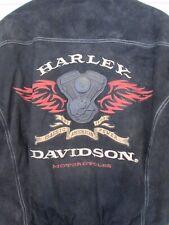 Harley Davidson Mens Vintage Black Suede Leather Jacket Winged Motor Size L