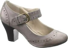 Hush Puppies 6 Heels Grey Smoke Lolita Mary Jane Pump Round Shoes Office AS NEW