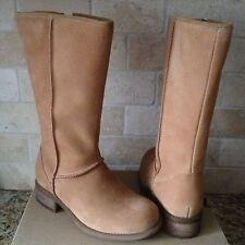 UGG Linford Chestnut Water-resistant Suede Sheepskin Zip-up Boots US 5.5 Womens