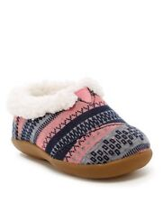 a0cb8cd91c1 TOMS Baby Girls Fair Isle Faux Shearling Slippers - Size 3 Pink Blue Wool  Shoes