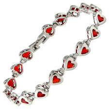 Melina Jewelry Charming Wedding Red Ruby White Gold Plated Heart Cut Bracelet
