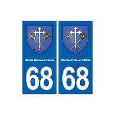 68 Sainte-Croix-en-Plaine blason autocollant plaque stickers ville arrondis
