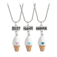 Baby Girl Boy Cute BFF Best Friend Forever Ice Cream Pendant Necklace 3PCS/Set