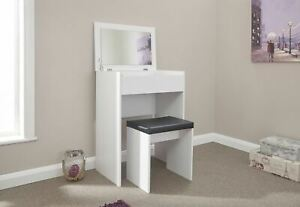 White Compact Dressing Vanity Table Faux Leather Stool Set Seconds
