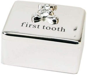 Bambino Baby Christening Gifts. Silverplated First Tooth Keepsake Box with Teddy