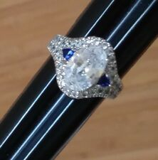 "CLEAR & SAPPHIRE BLUE CRYSTALS / RHINESTONE 925 silver "" RING Sz 8 vintage cz??"