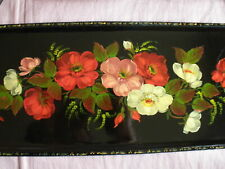 Plateau / tableau russe peinture sur tôle émaillée - Composition florale signée
