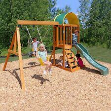 Playground Swing Set Backyard Wooden Playset w/ Slide & Sandbox Clubhouse Kids