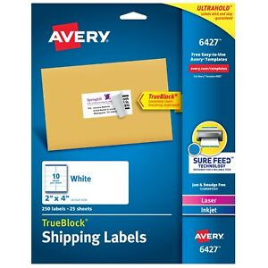"""Avery Shipping Labels, Sure Feed, 2"""" x 4"""", 250 Labels 25 Sheets (6427)"""