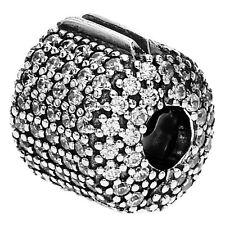 "Original Pandora Bead Element Clip 791873 CZ ""Pave' Barrel"" Zirkonia weiss / 925"