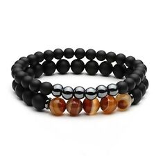 VESUVIO Mens Hematite and Matt Onyx 8mm 6mm Bead Black Brown Beaded Bracelet