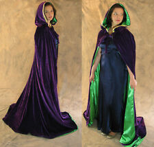 Mardi Gras Lined Purple Green Velvet Cloak Cape Wedding Wicca LARP LOTR Cosplay