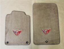 NEW! Tan Floor Mats 1998-2004 Corvette Embroidered Circle Emblem Logo in Red