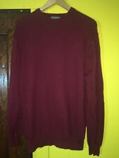 Lyle & Scott Men's Red Combed Cotton Slim Pullover Sweater Size L Cable-knit