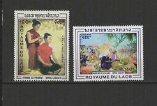Royaume du Laos 2 timbres non oblitérés 1969 P. Aérienne tableaux /T2787