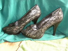 NWOB-Rampage Women's Peep Toe Black Lace Stiletto Heels Pumps - Size 9M - EB42
