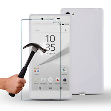 S-Line Wave TPU Gel Case+Tempered Glass Screen Protector for Sony Xperia Experia
