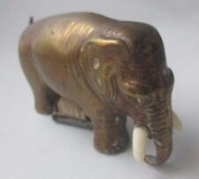 Brass WIND -UP ELEPHANT TAPE MEASURE with TUSKS,Original Antique c1890