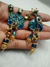 Pretty  vtg. Lunch at the Ritz blue peacock  clip earrings missing 1 rhinestone