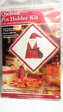 NEW Quilted Pot Holder Kit Christmas Primitive Santa Craft Quilt Kit Paper Piece