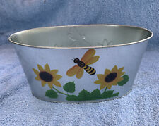 FLORAL EMBOSSED OVAL FROSTED TIN PLANTERS WITH FLOWERS & Bees