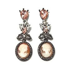 """AMEDEO """"CARAMELLE"""" 20 MM CAMEO FACETED STONE HEMATITETONE DROP PIERCED EARRINGS"""