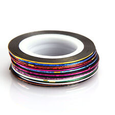 10 x Rolls Nail Art Striping Tape Mixed Colours, Nail Design Manicure, UK Seller