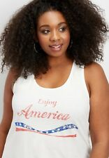 "$32 MAURICES KNIT XS ""enjoy America"" OFF WHITE TANK TEE SHIRT SOFT TEXTURED top"